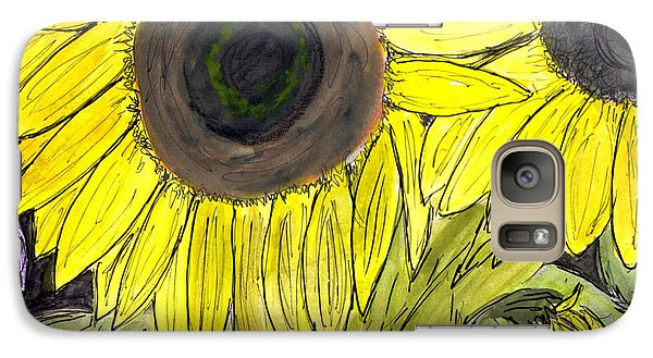 Galaxy Case featuring the painting Sunflowers by Lou Belcher