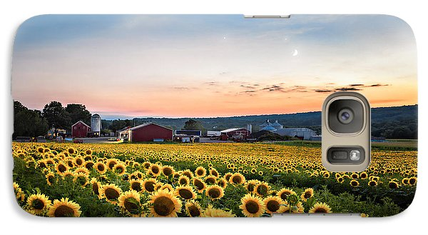 Galaxy Case featuring the photograph Sunflowers, Moon And Stars by Eduard Moldoveanu