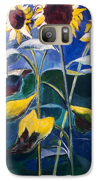 Galaxy Case featuring the painting Sunflowers Standing Tall by Betty Pieper