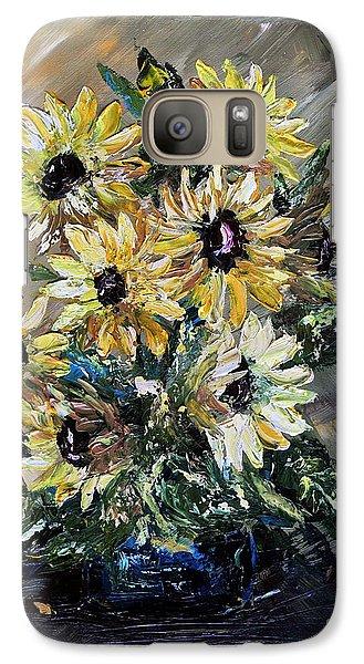 Galaxy Case featuring the painting Sunflowers by Teresa Wegrzyn