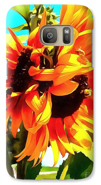 Galaxy Case featuring the photograph Sunflowers - Twice As Nice by Janine Riley