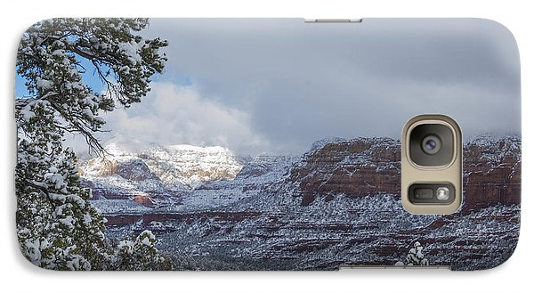 Galaxy Case featuring the photograph Sunlit Snowy Cliff by Laura Pratt