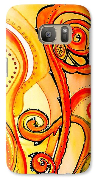 Galaxy Case featuring the painting Sunny Flower - Art By Dora Hathazi Mendes by Dora Hathazi Mendes