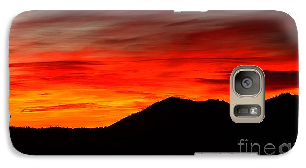 Galaxy Case featuring the photograph Sunrise Against Mountain Skyline by Max Allen