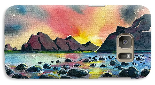 Galaxy Case featuring the painting Sunrise And Water by Terry Banderas