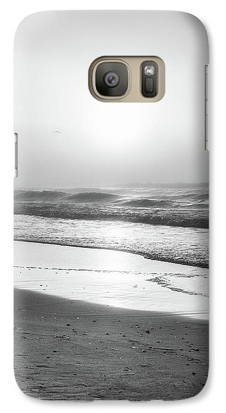 Galaxy Case featuring the photograph Sunrise At Beach Black And White  by John McGraw