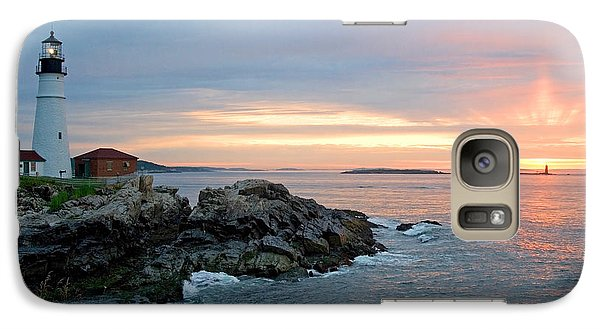 Galaxy Case featuring the photograph Sunrise At Portland Head Lighthouse by Alana Ranney
