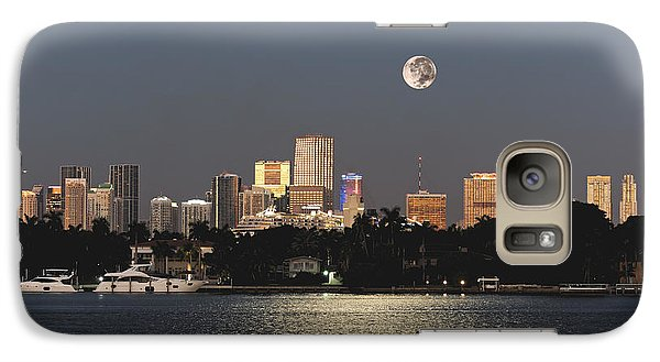 Galaxy Case featuring the photograph Sunrise Moon Over Miami by Gary Dean Mercer Clark