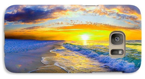 Galaxy Case featuring the photograph Sunrise On Ocean Waves Beautiful Orange Sunrise by Eszra Tanner