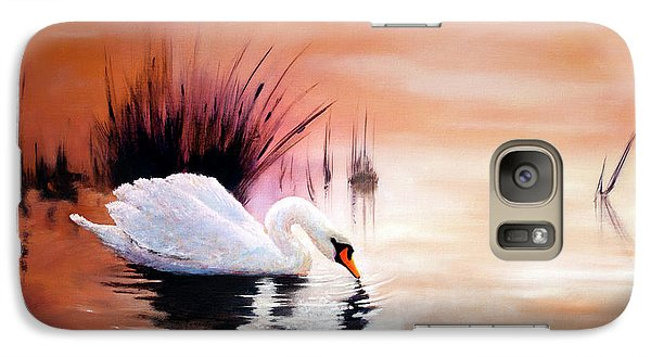 Galaxy Case featuring the painting Sunrise On Swan Lake by Michael Rock