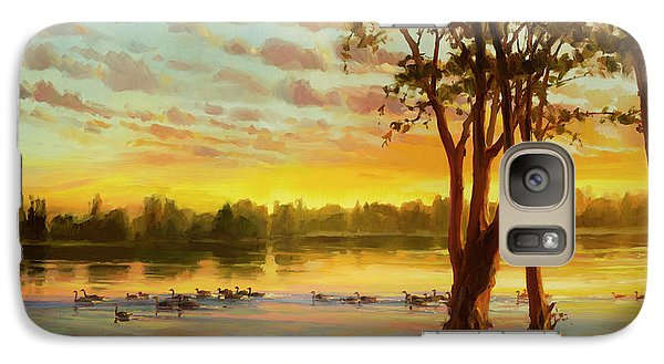 Geese Galaxy S7 Case - Sunrise On The Columbia by Steve Henderson