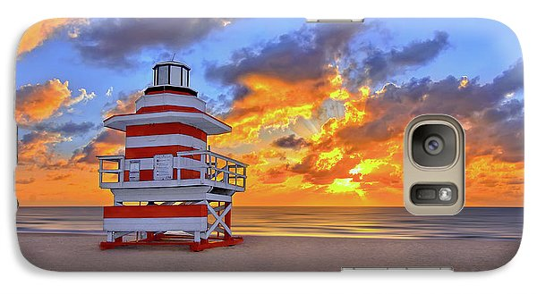 Galaxy Case featuring the photograph Sunrise Over Lifegaurd Stand On South Miami Beach  by Justin Kelefas