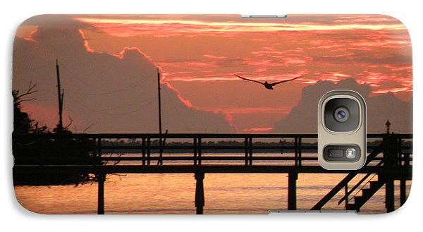 Galaxy Case featuring the photograph Sunset And The Fishing Dock by Rosalie Scanlon