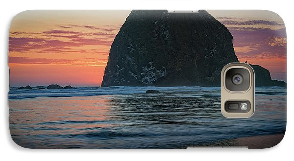 Galaxy Case featuring the photograph Sunset At Haystack Rock by Rick Berk