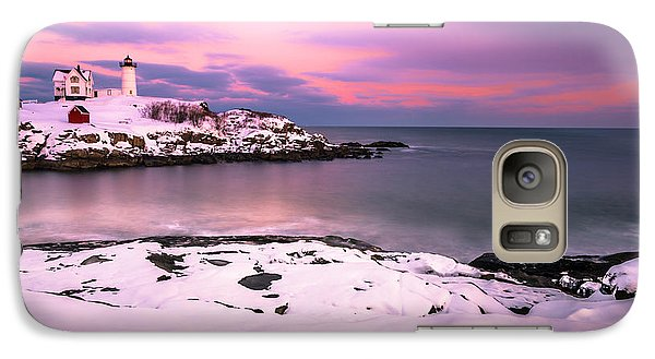 Galaxy Case featuring the photograph Sunset At Nubble Lighthouse In Maine In Winter Snow by Ranjay Mitra