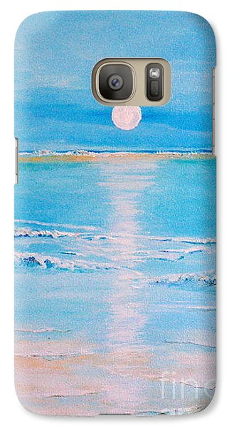 Galaxy Case featuring the painting Sunset At The Beach by Teresa Wegrzyn