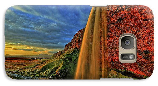 Galaxy Case featuring the photograph Sunset At The Falls by Scott Mahon