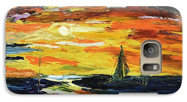Galaxy Case featuring the painting Sunset At The Oasis Lake Travis by The GYPSY And DEBBIE