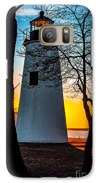 Galaxy Case featuring the photograph Sunset At Turkey Point Lighthouse by Nick Zelinsky