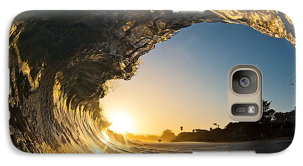Galaxy Case featuring the photograph Sunset Barrel Wave On Beach by Paul Topp