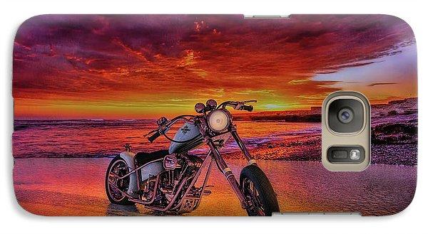 Galaxy Case featuring the photograph sunset Custom Chopper by Louis Ferreira