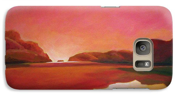 Galaxy Case featuring the painting Sunset Estuary by Angela Treat Lyon