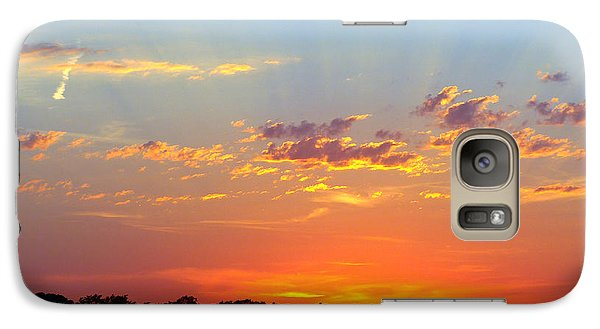 Galaxy Case featuring the digital art Sunset Glory Orange Blue by Jana Russon