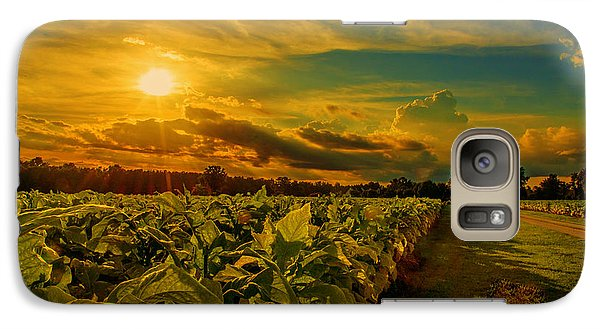 Galaxy Case featuring the photograph Sunset In A North Carolina Tobacco Field  by John Harding