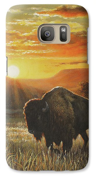 Galaxy Case featuring the painting Sunset In Bison Country by Kim Lockman