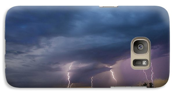 Galaxy Case featuring the tapestry - textile Sunset Lightning by Kathy Adams Clark