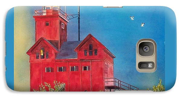 Galaxy Case featuring the painting Sunset On Holland Light by LeAnne Sowa