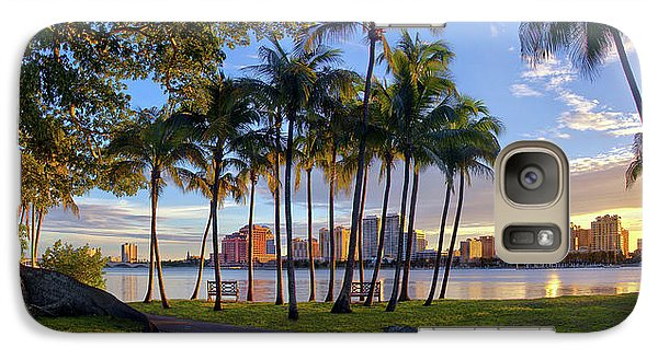 Galaxy Case featuring the photograph Sunset Over Downtown West Palm Beach From Palm Beach Island by Justin Kelefas