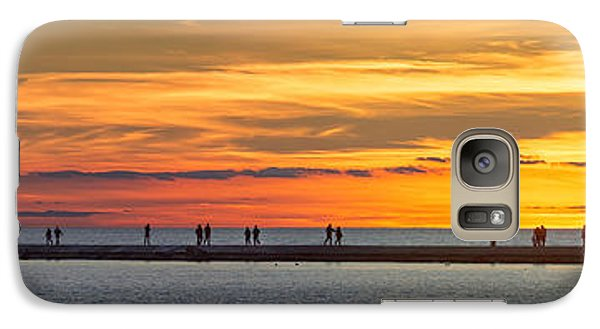 Galaxy Case featuring the photograph Sunset Over Ludington Panoramic by Adam Romanowicz