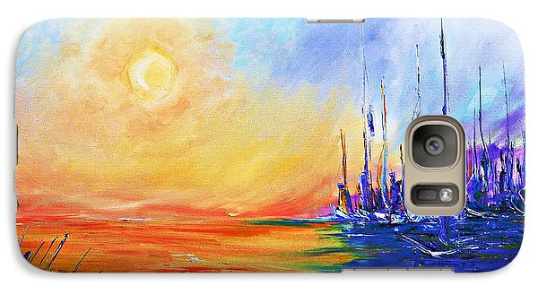 Galaxy Case featuring the painting Sunset Over The Sea by AmaS Art
