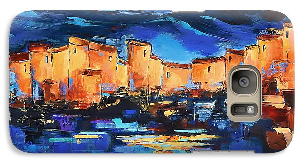 Galaxy Case featuring the painting Sunset Over The Village 2 By Elise Palmigiani by Elise Palmigiani