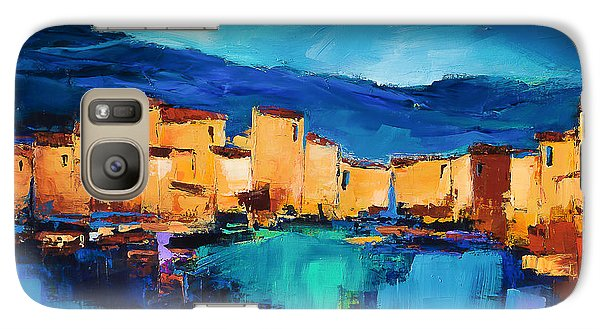 Galaxy Case featuring the painting Sunset Over The Village 3 By Elise Palmigiani by Elise Palmigiani