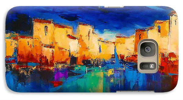 Galaxy Case featuring the painting Sunset Over The Village by Elise Palmigiani