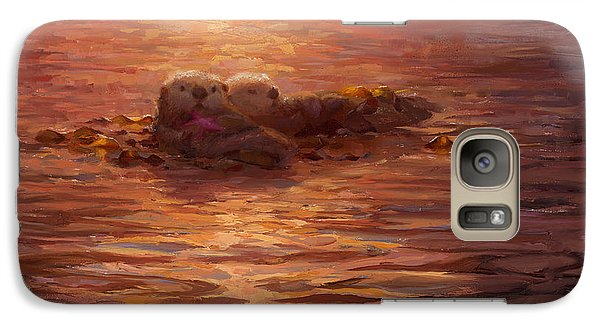 Galaxy Case featuring the painting Sunset Snuggle - Sea Otters Floating With Kelp At Dusk by Karen Whitworth