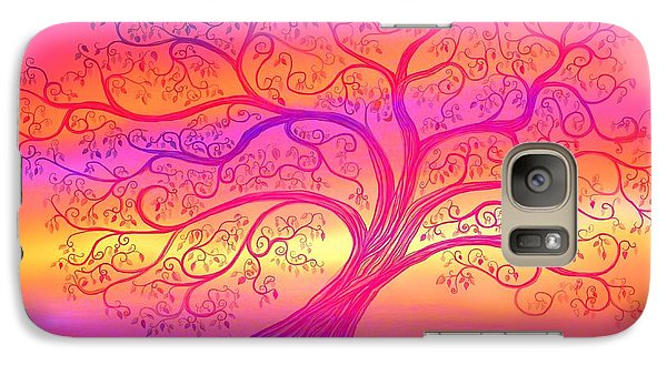 Galaxy Case featuring the painting Sunset Tree Cats by Nick Gustafson