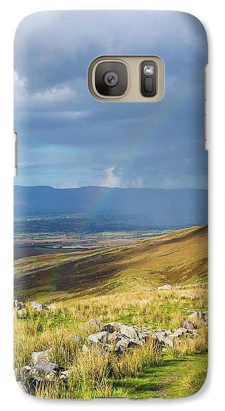 Galaxy Case featuring the photograph Sunshine And Raining Down With Rainbow On The Countryside In Ire by Semmick Photo