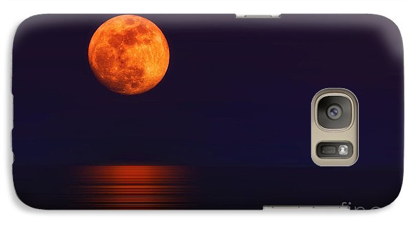 Galaxy Case featuring the photograph Super Moon Rising Over Water by Charline Xia