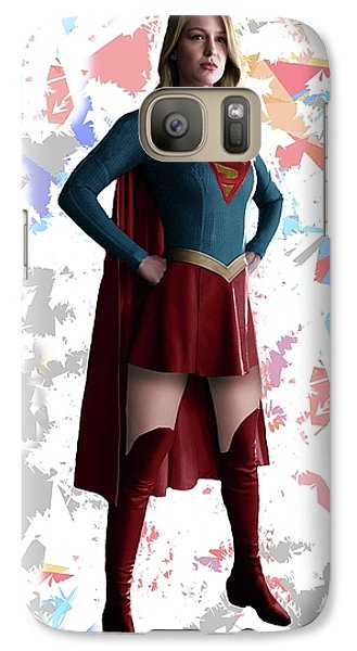 Galaxy Case featuring the mixed media Supergirl Splash Super Hero Series by Movie Poster Prints