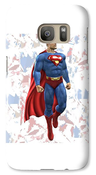 Galaxy Case featuring the mixed media Superman Splash Super Hero Series by Movie Poster Prints