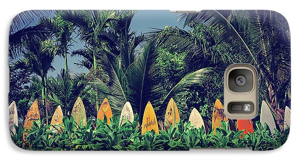Galaxy Case featuring the photograph Surf Board Fence Maui Hawaii Vintage by Edward Fielding