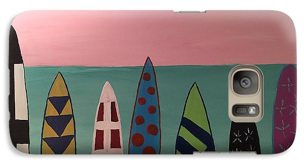 Galaxy Case featuring the painting Surfboards At On Beach by Paula Brown