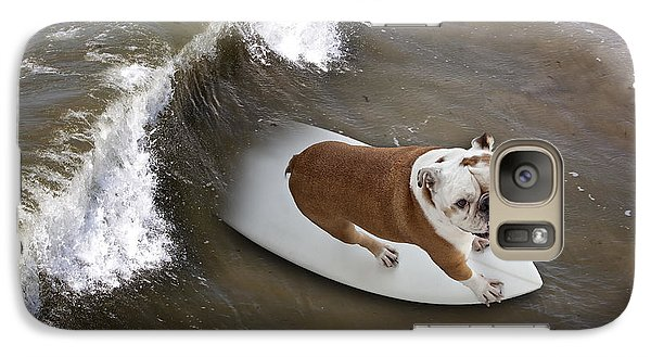 Galaxy Case featuring the photograph Surfer Dog by John A Rodriguez