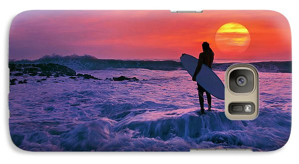 Galaxy Case featuring the photograph Surfer On Rock Looking Out From Blowing Rocks Preserve On Jupiter Island by Justin Kelefas