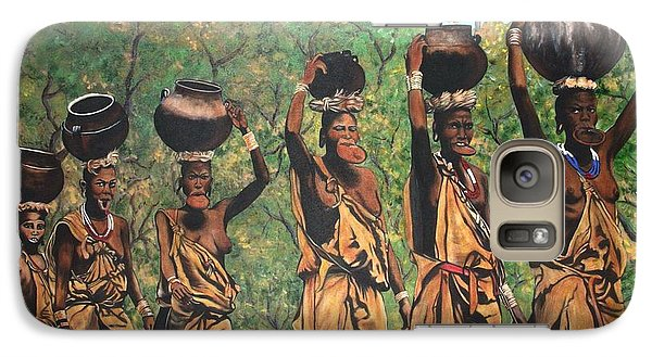 Galaxy Case featuring the painting Surma Women Of Africa by Sigrid Tune
