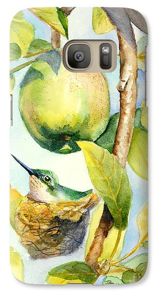 Galaxy Case featuring the painting Surprise In The Apple Tree by Bonnie Rinier