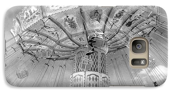 Galaxy Case featuring the photograph Surreal Carnival Rides - Carnival Rides Ferris Wheel Black And White Photography Prints Home Decor by Kathy Fornal